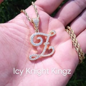 """18""""Rope Chain - Gold Finish Cursive Z. Initial"""